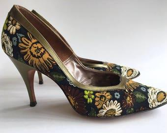 Vintage Pumps Henry Waters High Heels Vintage Green Floral Pumps 1960s Women's Shoes Vintage Pumps Vintage Designer