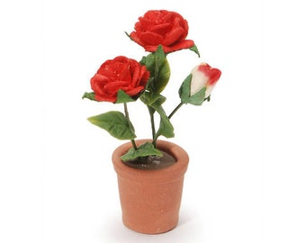 Miniature Red Roses Potted Plant Dollhouse Accessory 1/12 Dollhouse Diorama Shadow Box Supply - 356