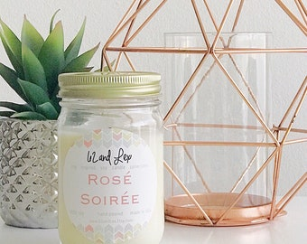 Rosé Soirée Soy Candle / Rose All Day/Bridesmaid Gift/Gift for Her/Summer House/graduation gift/Best Friend Gift/Wine Lover/Wine/Wine Candle