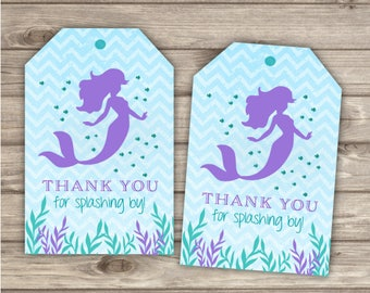 20 Printed Mermaid Thank You Tags Purple and Teal with Blue Chevron Little Mermaid Silhouette Favor Tags Gift Tags girl TT907