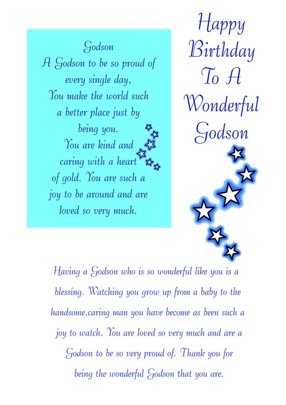 Godson birthday card with removable laminate bookmarktalkfo Images