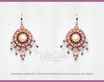 Photo Tutorial ENG-Ita ,DIY earrings,*Hea* earrings ,PDF Pattern 58 with swarovski, pearls, and seed beads