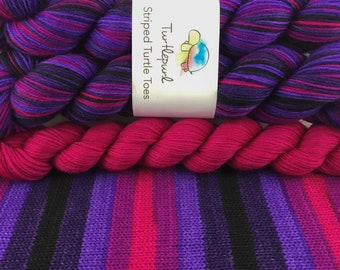 Derby - With Magenta Heel & Toe - Hand Dyed Self Striping Sock Yarn