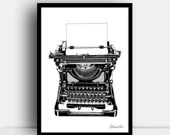 Typewriter print (A4 risograph print) - Vintage style