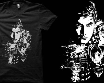 Ladies Fit T-shirt - Tenth Doctor Doctor Who Enemies Black and White Fan Art