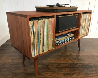 Mid century modern stereo/turntable console, record player cabinet featuring sapele mahogany with natural finish.