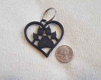 3D printed cat paw, pet memorial customizable keychain