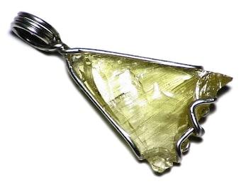 Yellow Danburite Pendant Sterling Silver (9 ct) Tanzanian Cat's Eye Danburite Necklace, Triangular Natural Danburite Shard Jewelry, Points