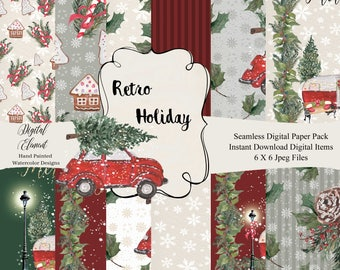 Digital Watercolor Paper, Retro Holiday, Vintage Red Car and Camper, Seamless Paper, Snow, Lights, Hand Painted Retro Camper. No. WC78