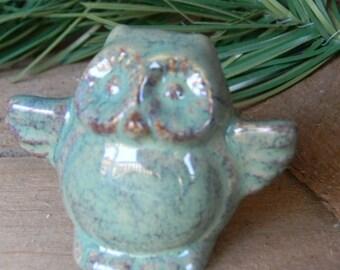 Owl Miniature  Ceramic    Pottery  Barn Owl    glazed   blue  Bird ... I need a hug