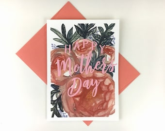 """Floral Mother's Day - Happy Mother's Day Card - Watercolor Illustration and Layered Paper - 5"""" x 7"""" - Blank"""