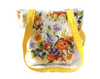 Floral Purse, Small Tote Bag, Handmade Handbag, Orange Flowers, White Fabric Bag, Shoulder Bag, Teen Purse, Girls Purse
