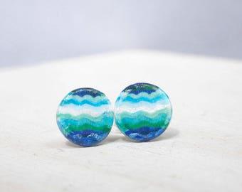 Wave earrings, turquoise earrings, blue earrings, ocean earrings, summer earrings, polymer clay earrings, hand painted earrings, studs