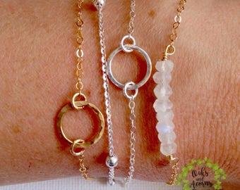 Dainty circle bracelet - gold karma bracelet - silver karma bracelet - minimalist bracelet - anniversary gift - gift for her - birthday