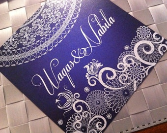 Indian Wedding Invitations Blue and Silver, Gold and Magenta, Teal and Gold