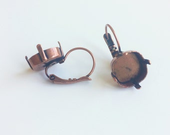 12mm Cushion Square Earring Setting Leaver Back Drop 12mm Copper Ox Plating for Swarovski 4470 1 Pair