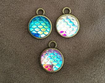 Set of three small mermaid scale charms lowbrow fantasy art