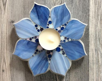 Christmas blue glass mosaic candle holder, flower shape.