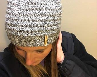 Crochet pom hat, beanie, black, gray, variegated, winter hat