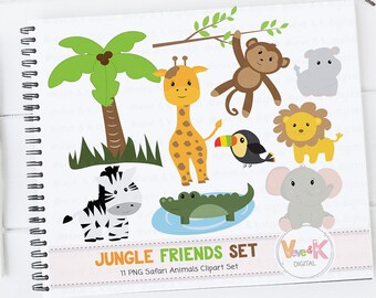 Safari Jungle Animals Clip Art, African Animals Clipart, Jungle Clipart, Baby Animals, Safari, Zoo Animals, Safari Animals, Commercial Use