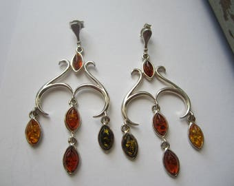 Sterling Silver Amber Earrings, Dangle Amber Earrings, Multicolored Amber