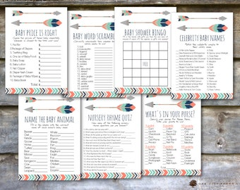 Tribal Arrow Baby Shower Games - Tribal Baby Shower Games, Adventure Shower Game, Arrow Baby Shower Games, Indian, Aztec, Tribal, Boho - DIY