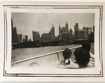 "1947 Vintage Photo ""Welcome to New York"" Snapshot Antique Black & White Photograph Paper Found Ephemera Vernacular Interior Design Mood - 79"