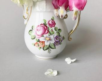 Herend Porcelain Pitcher Vase Hand Painted Floral China Pitcher Creamer