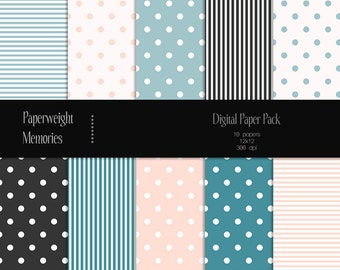 Sweet dreams - Instant download - Digital Papers - digital scrapbooking - blue and soft pink, patterned paper - Commercial Use