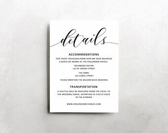 Wedding Details Template | Wedding Information Card | Rustic Wedding Details Template | Rust Wedding Invitation Suite | Wedding Information