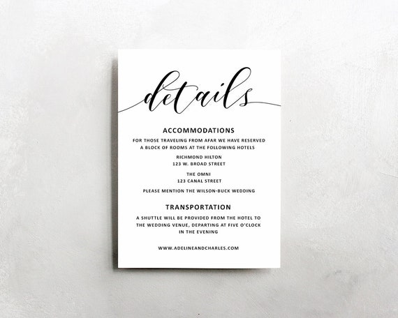 Wedding Details Template Wedding Information Card Rustic