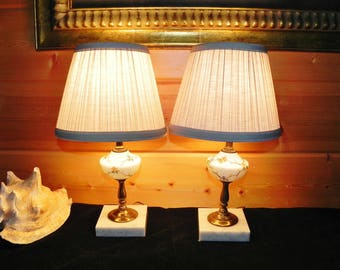 Pair of Vanity Boudoir Lamps Hand Painted With Marble Base