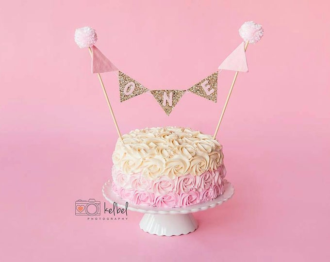 Pink and Gold CAKE Bunting Flag Banner