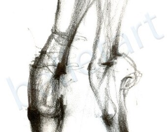 ballet on pointe, dance art print, pointe shoe pencil drawing, ballet art, black and white, artwork, illustration