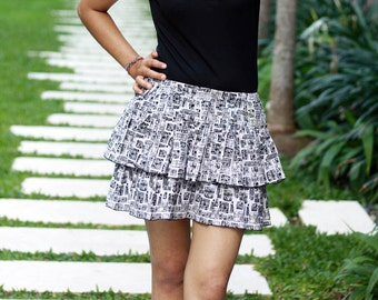Black and White Abstract Skirt / Tiered Skirt / Black and White Mini Skirt