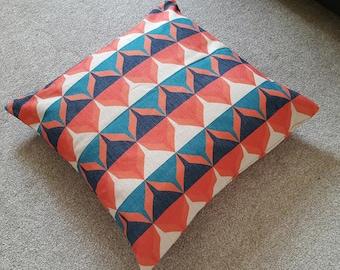 "Teal/Orange Retro Scandinavian Cotton Linen Floor Cushion Cover 26 x 26"""
