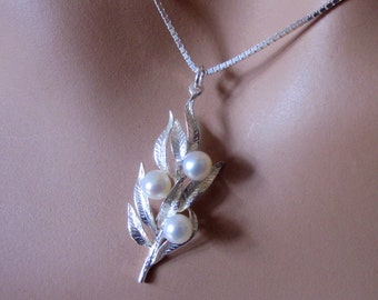Freshwater Pearls Sterling Silver Leaves Pendant Womens Jewelry Gift Botanical