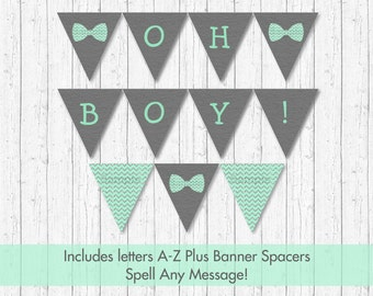 Cute Bow Tie Baby Shower Banner / Bow Tie Baby Shower / Chevron Pattern / Mint & Silver / Letters A-Z / Printable INSTANT DOWNLOAD A152