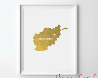 Afghanistan Map Gold Foil Print, Gold Print, Map Custom Print in Gold, Illustration Art Print, Map of Afghanistan Gold Foil Art Print