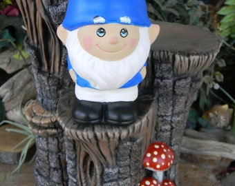 Garden Gnome - Mr Gnomeo Hand Painted ceramic garden statue