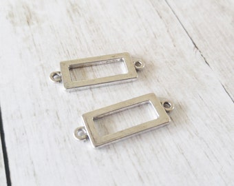 Rectangle Pendants Rectangle Charms Antiqued Silver Rectangle Connector Pendants Link Silver Links Bar Connectors 2pcs