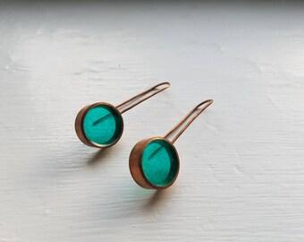 Handmade Copper & Blue Acrylic Drop Earring