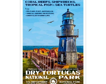 """Dry Tortugas National Park WPA style poster. 13"""" x 19"""" Original artwork, signed by the artist. Free Shipping !"""
