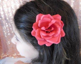 Flower Girl Hair Clip - Flower Hair Clip - Paper Flower Hair Clip - Red Paper Flower - Red Flower Hair clip - Wedding Flower Hair Piece