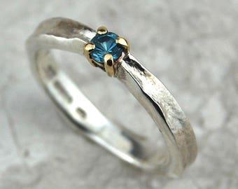 Aquamarine March Birthstone Ring | Claw Set Aquamarine Ring | Aquamarine Silver Ring | Textured Silver Ring | March Birthstone Ring | Silver