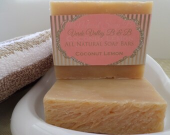 Coconut Lemon Soap, Coconut Lemon Bar Soap, Coconut Lemon Soap Bar, Handmade Soap, Natural Soap, Citrus Soap, Vegan Soap