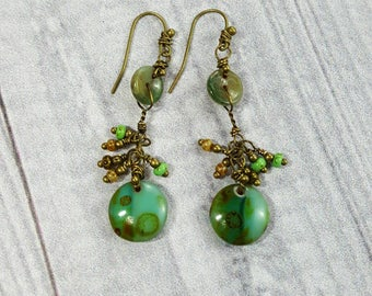 Handmade Earrings, Bohemian Dangles, Natural Green Stones and Glass Beads, Antique Brass Beads and Ear Wires