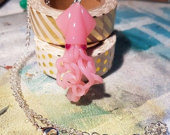 Pink Squid Necklace, pastel goth fairy kei mermaid jewelry