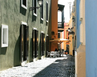 Colourful Street Cafe Documentary Photo - 8x10 Architecture Photograph - Blue - Sage Green - Yellow - Puerto Rican Cafe Art - Brick Street