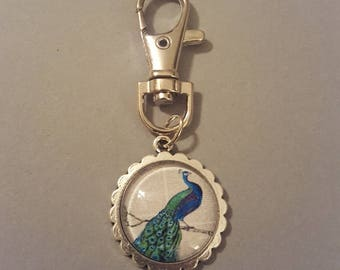 Peacock Cabochon Keychain